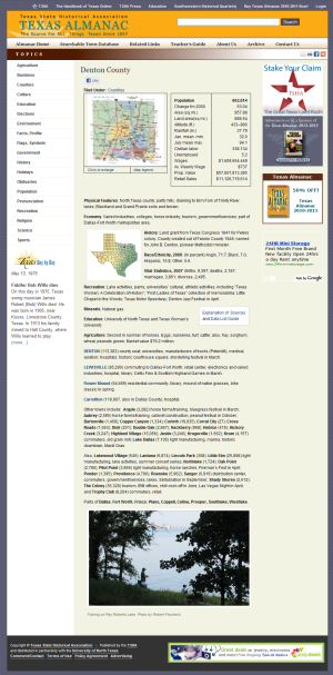 Denton County on Texas Almanac